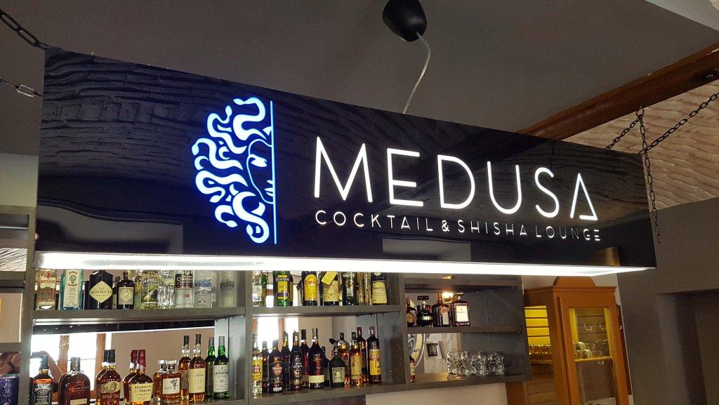 Světelné logo Medusa