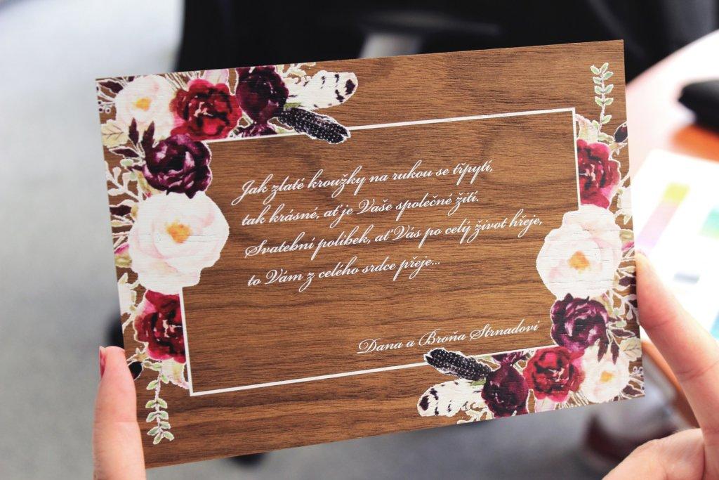 Svatební blahopřání, UV potisk materiál dýha
